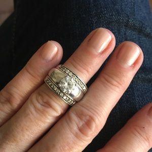 Diamonique Silver Ring Set Size 5